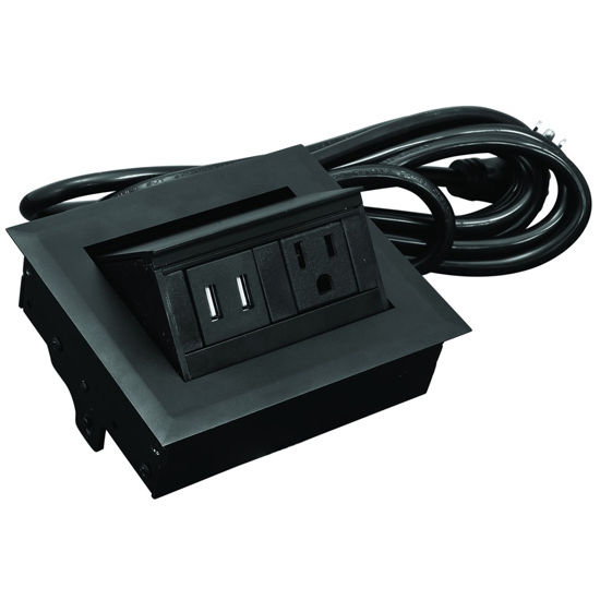 Hafele Hide-A-Dock Power/Data Station, with 10' Power Cord, 1 Grounded AC Outlet, 2 Charging USB Ports, Aluminum, Black
