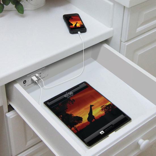 Kassel Outlests Kitchen Bath Cabinet: Docking Drawer, Blade USB Charging Outlet, By Hafele, For