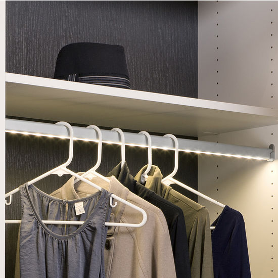 Cabinet Lighting - Hafele Loox 12V LED Closet Wardrobe Clothes Rail : KitchenSource.com