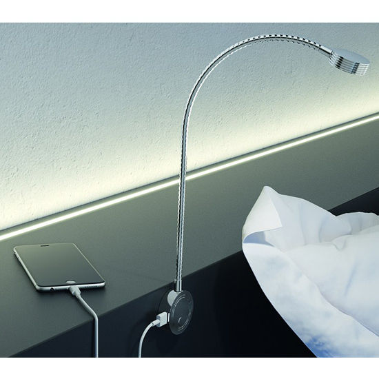 Hafele LOOX 12V #2034 Flexible LED Reading Light with USB Charging Station with 3 LEDs