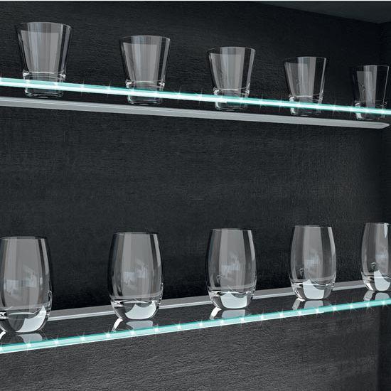 Hafele HA-833.74.142 Loox LED 12V 2021 Glass Shelf 2.1W Cool White 4000K, Aluminum, Silver Colored Anodized