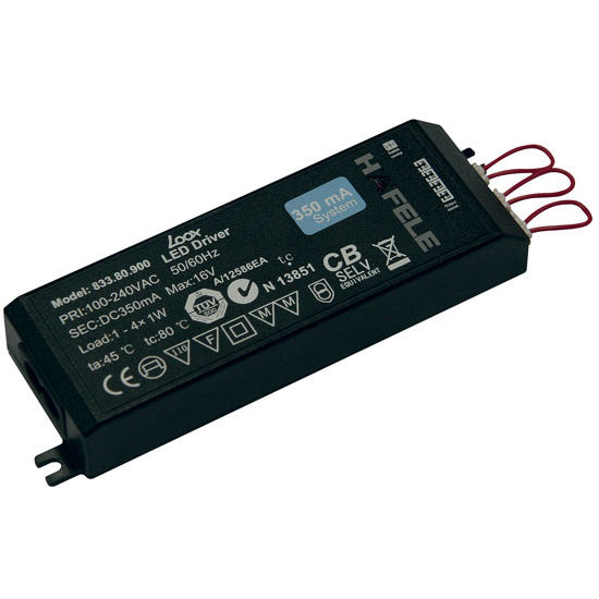 Hafele Loox 100-240V to 350mA LED Transformer with Constant Voltage