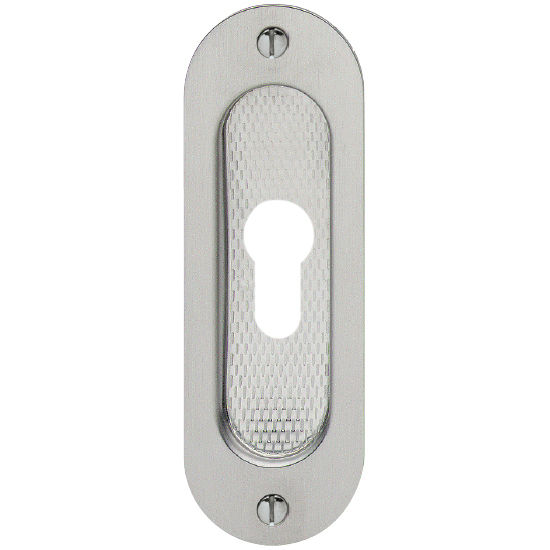 "Hafele Rounded Flush Pull, for Profile Cylinder, Matt Stainless Steel, 4-23/32"" x 1-37/64"" (120 x 40mm)"