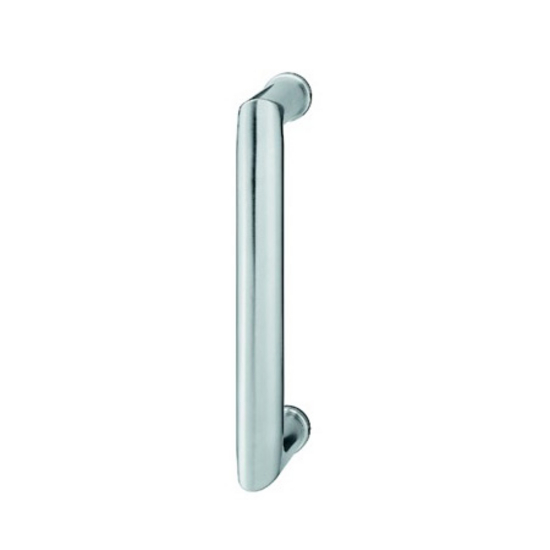 "Hafele Pull Handle with Support Rosettes, Matt Stainless Steel, 9-7/16"" (240mm) Length, 1-3/16"" (30mm) Dia."