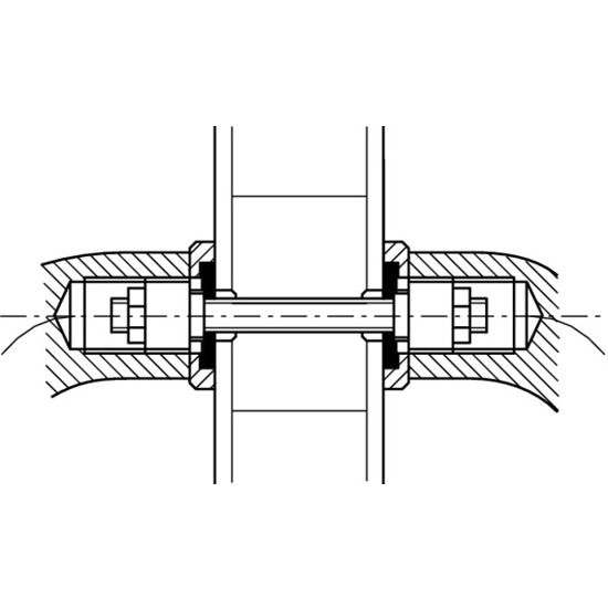 """Hafele Fastener, for Pull Handles, Back-to-back, for 8 - 10mm (5/16"""" - 3/8"""") glass door thickness"""