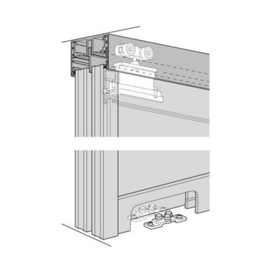 Sliding door hardware hafele divido 100 gr fitting set for Top hung sliding glass doors
