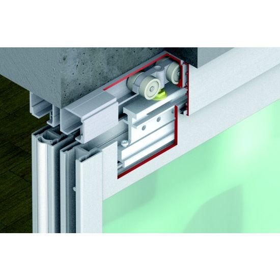 sliding door hardware hafele divido 100 gr fitting set top hung bottom rolling system. Black Bedroom Furniture Sets. Home Design Ideas