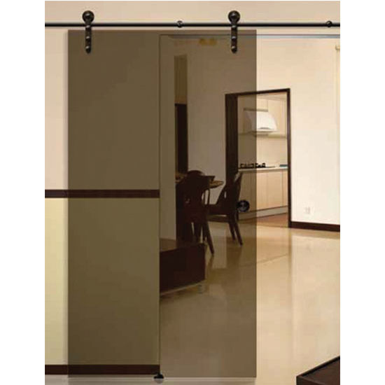 Hafele Antra I Sliding Door Hardware for Glass Doors Up to 220 lbs. each, with Solid Stainless Steel Track, Dark Bronze