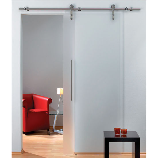 Hafele Flatec I Sliding Door Hardware for Glass Doors Up to 220 lbs. each, with Solid Stainless Steel Track, Matt Stainless