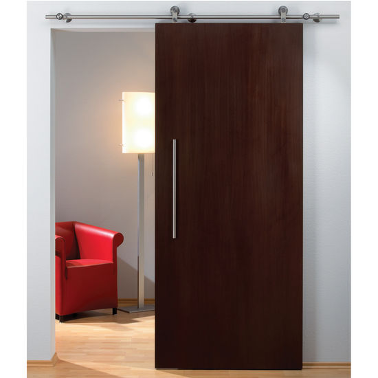 Hafele Flatec II Sliding Door Hardware for Wood Doors Up to 220 lbs. each, with Solid Stainless Steel Track, Matt Stainless