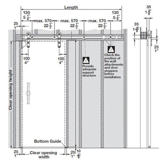 Hafele Sliding Door Hardware Flatec IV Set