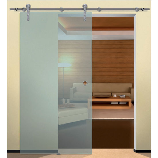 Glass doors with hollow stainless steel track by hafele