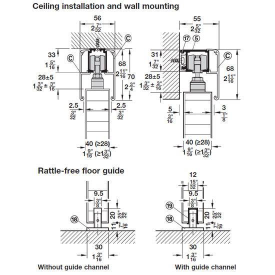 Hafele Sliding Door Hardware Slido Classic 40 P Sliding