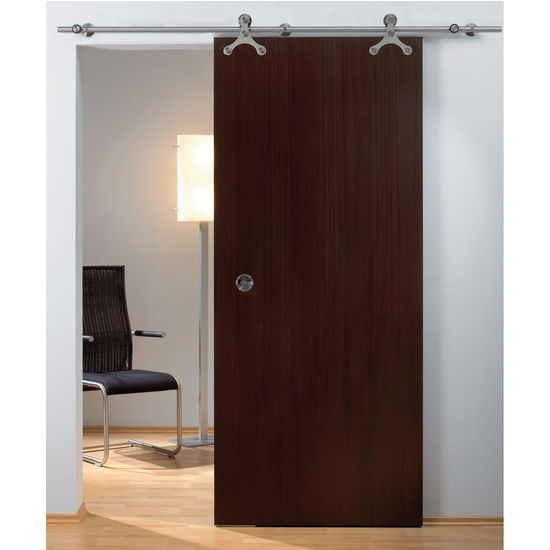 Hafele Tritec Sliding Door Hardware for Wood Doors Up to 220 lbs. each, with Solid Stainless Steel Track, Matt Stainless