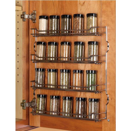 Kitchen Cabinet Spice Rack Organizer: Steel Wire Door Mount Spice Racks In Chrome And Champagne