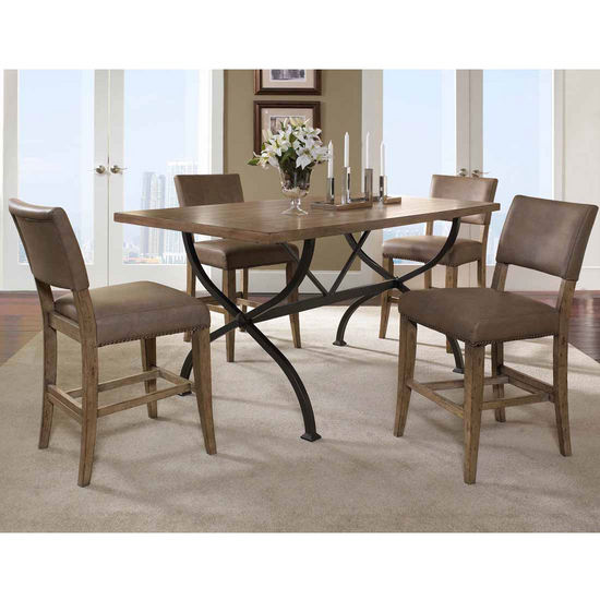 Hillsdale Furniture Charleston 5-Piece Counter Height Rectangle Wood Dining Set with Parson Stools
