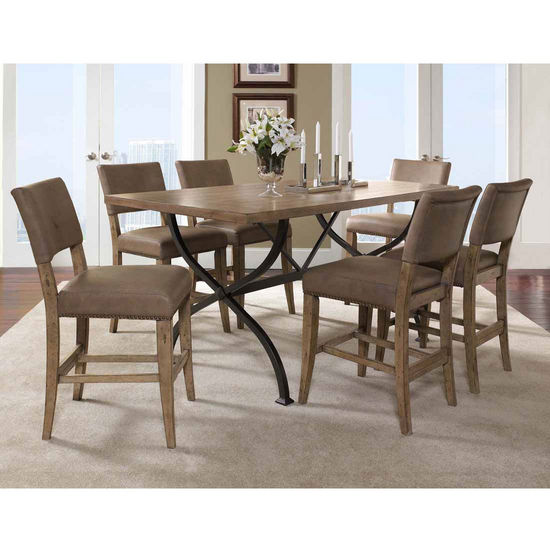 Hillsdale Furniture Charleston 7-Piece Counter Height Rectangle Wood Dining Set with Parson Stools