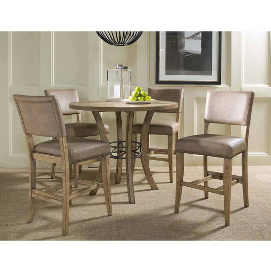 Hillsdale Furniture Charleston 5-Piece Counter Height Round Wood Dining Set with Parson Stools