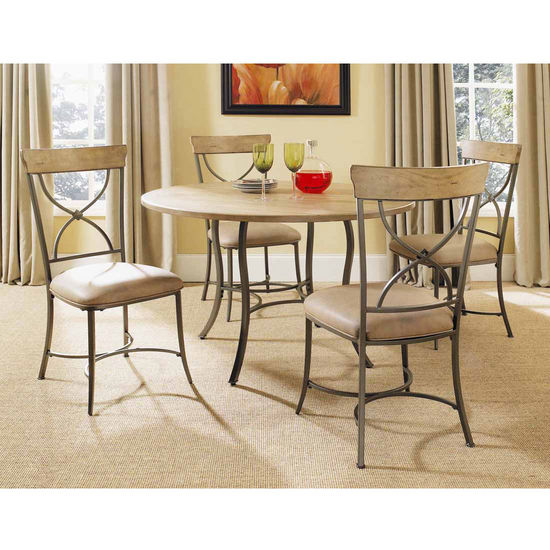 Hillsdale Furniture Charleston 5-Piece Round Wood & Metal Dining Set with X-Back Chairs