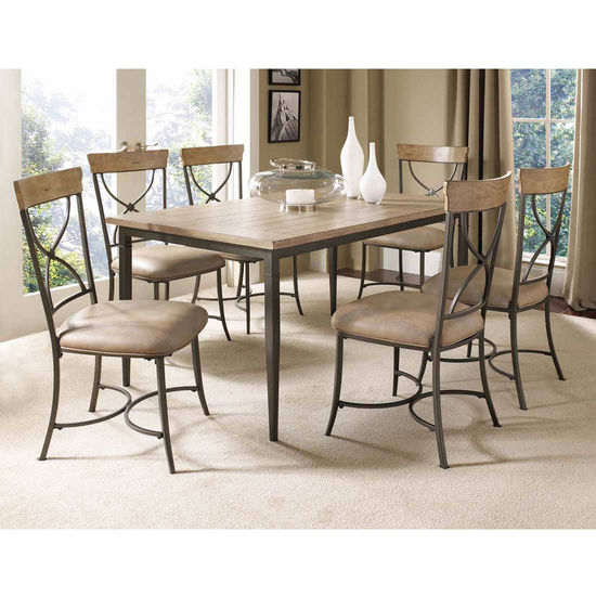 Hillsdale Furniture Charleston 7-Piece Rectangle Dining Set with X-Back Chairs
