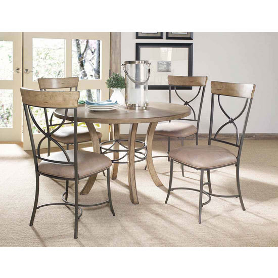 Hillsdale Furniture Charleston 5-Piece Round Wood Dining Set with X-Back Chairs