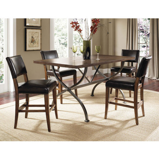 Hillsdale Furniture Cameron 5-Piece Counter Height Rectangle Wood Dining Set with Parson Stools