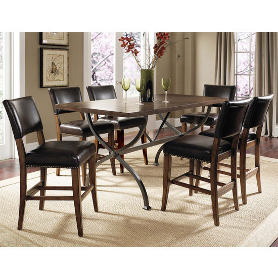 Hillsdale Furniture Cameron 7-Piece Counter Height Rectangle Wood Dining Set with Parson Stools