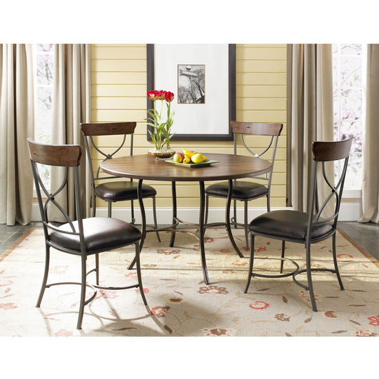 Hillsdale Furniture Cameron 5-Piece Round Wood & Metal Dining Set with X-Back Chairs