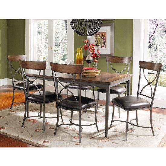 Hillsdale Furniture Cameron 7-Piece Rectangle Dining Set with X-Back Chairs