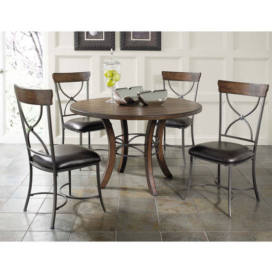 Hillsdale Furniture Cameron 5-Piece Round Wood Dining Set with X-Back Chairs