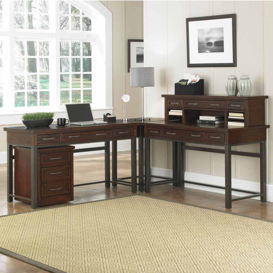 "Home Styles Cabin Creek Corner ""L"" Desk & Mobile File, Multi-step Chestnut"