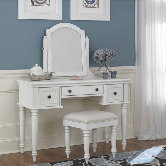 Home Styles Bermuda Vanity, Mirror & Bench, White
