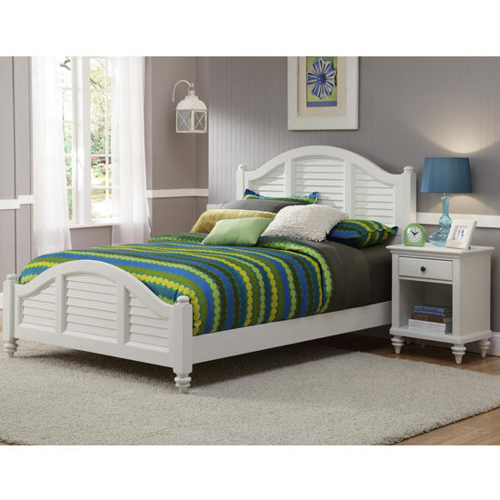Home Styles Bermuda Queen Bed & Night Stand, Brushed White Finish