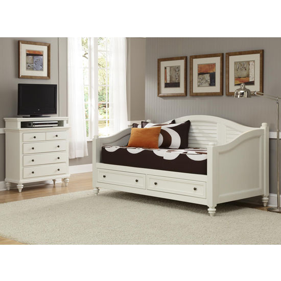 Home Styles Bermuda Daybed & TV Media Chest, Brushed White Finish