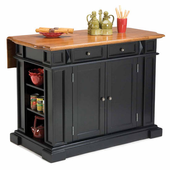 Kitchen Island With Drop Leaf In Black And Distressed Oak Finish And Two Deluxe Bar Stools In