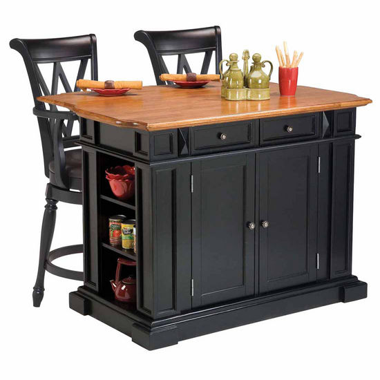 Home Styles Kitchen Island in Black and Distressed Oak Finish and Two Deluxe Bar Stools in Black Finish