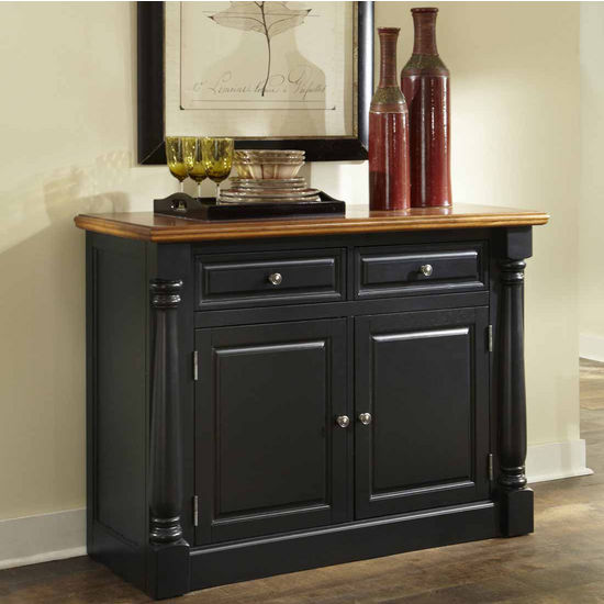 Home Styles Monarch Buffet and Hutch, Oak and Black