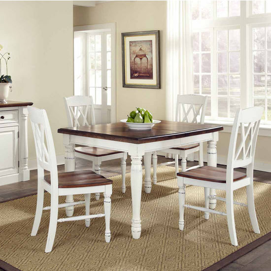 Home Styles Monarch Rectangular 5-Pc. Dining Set with Dining Table and Four Double X-back Chairs, Oak and White