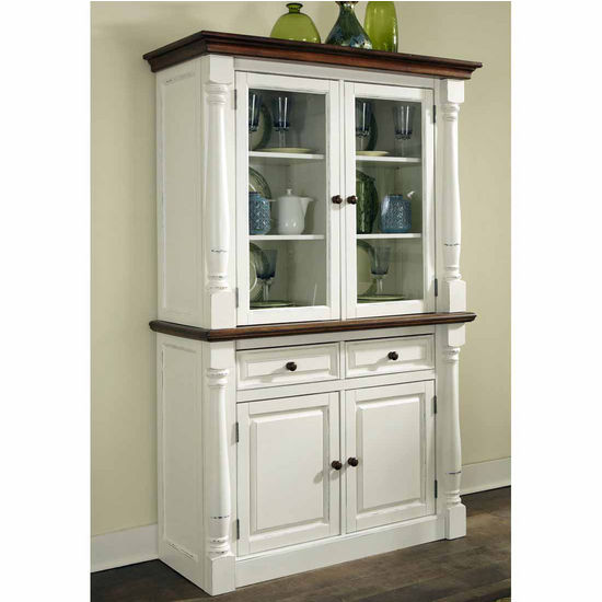 Home Styles Monarch Buffet and Hutch, Oak and White