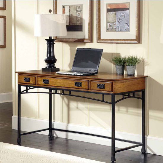 Home Styles Modern Craftsman Executive Desk, Distressed Oak and Deep Brown