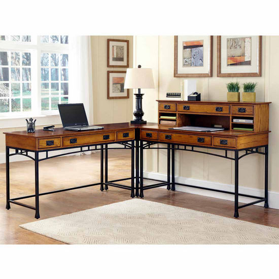 "Home Styles Modern Craftsman Corner ""L"" Desk with 1 Hutch, Distressed Oak and Deep Brown"