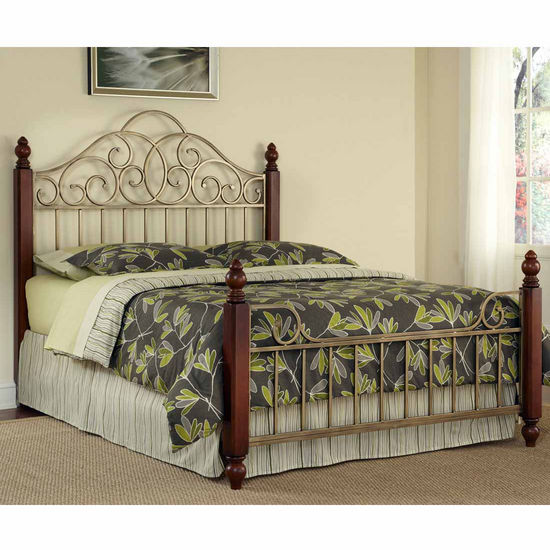 Home Styles St. Ives Queen Bed, Cinnamon Cherry and Aged Gold Metal