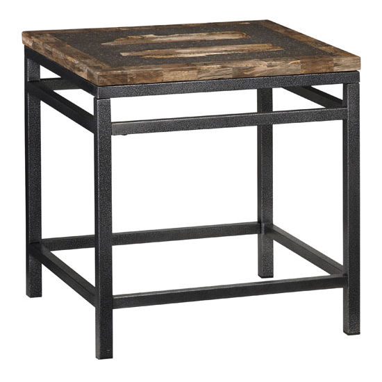 Home Styles Turn to Stone End Table, Petrified Wood & Black Metal