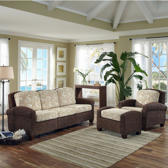 Home Styles Cabana Banana II Accent Chair, Ottoman, and Three Seat Sofa