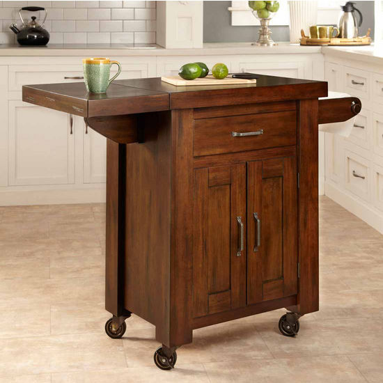 Home Styles Cabin Creek Kitchen Cart with Side Drop Leaf, Western Wood