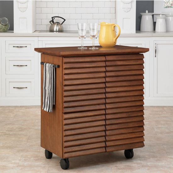 Home Styles Cascade Louvered Kitchen Cart, Oak