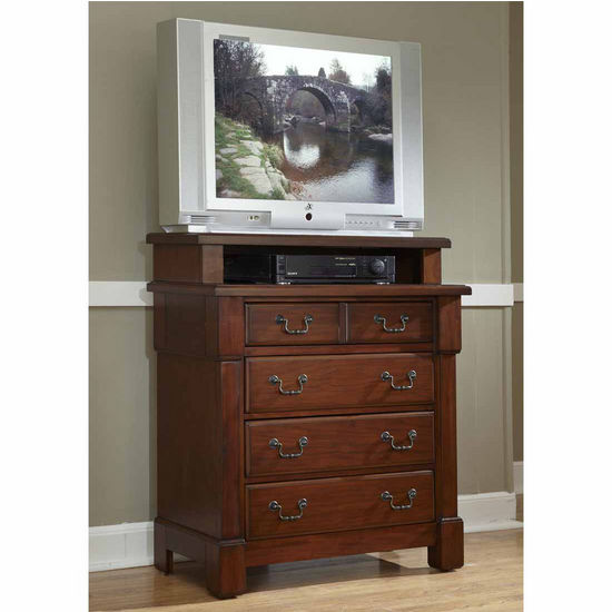 Home Styles The Aspen Collection Media Chest, Rustic Cherry