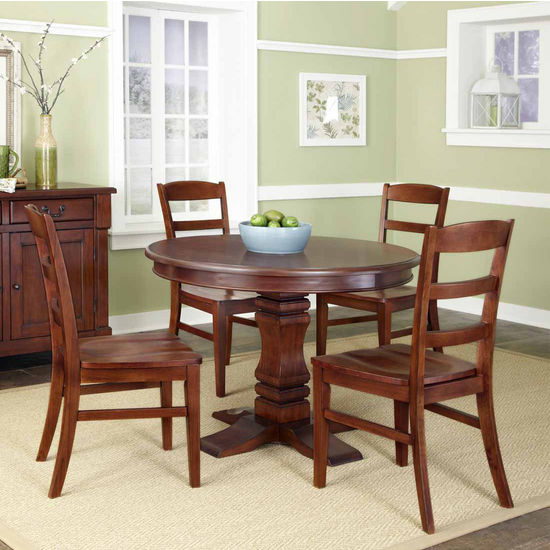 Home Styles The Aspen Collection 5-Pc. Pedestal Dining Set with Dining Table and Four Ladderback Chairs, Rustic Cherry