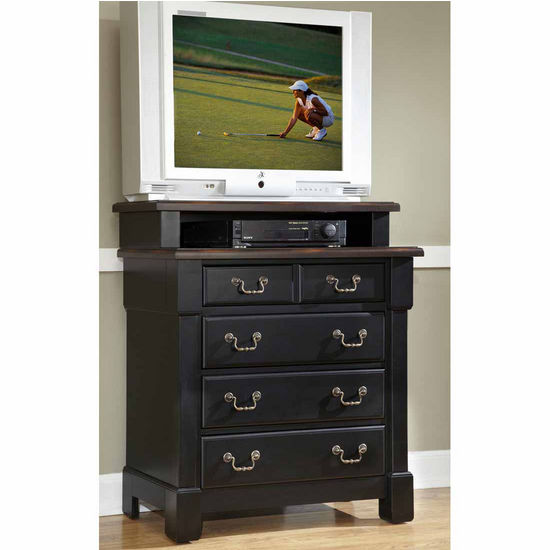 Home Styles The Aspen Collection Media Chest, Rustic Cherry and Black