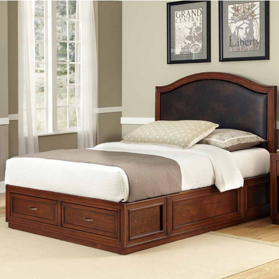 Home Styles Duet Platform Queen Camelback Bed with Brown Leather Inset, Rustic Cherry